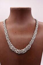 "17"" Italian Graduated Byzantine Link Necklace Rhodium Sterling Silver 925"