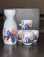 Peacock Sake 5pcs Set! 1 Bottle With 4 Sake Cups.