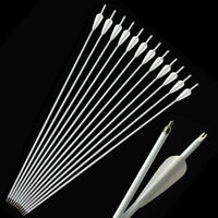 "30"" Archery Carbon Arrows SP500 Arrowheads Target Compound Recurve Bow Hunting"
