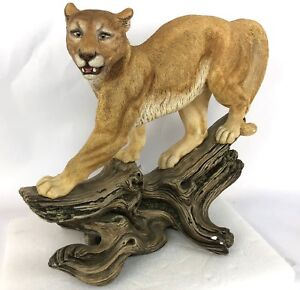 "Vintage 1988 Signed 21"" Plaster Puma Mountain Lion LARGE Statue Big Cat Figure"
