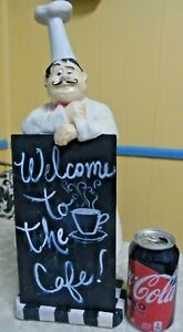 "Vintage Rare Chef Figure Leaning On Metal ""Welcome To The Cafe"" Sign"