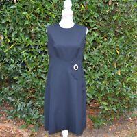 robe habillée mi longue femme taille 44 esprit vintage 1970 noir Zaza2cats