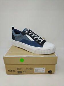 Women's Michael Kors Oscar Lace Up Denim Platform Sneaker, Size 10 - Blue/White