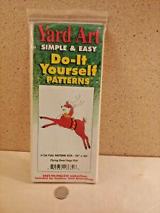 Unused 1994 Yard Art Do-It Yourself Pattern Christmas Flying Reindeer Decoration