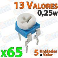 Kit 65 Potenciometros 1/4w 0,25w 13 valores horizontal resistencia variable PCB