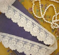 Vintage Scalloped Edge BLOSSOM Cotton Embroidery Lace Ecru/Ivory Wedding Card 1M