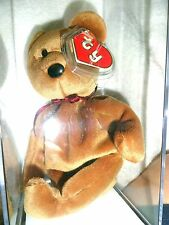 *Authenticated Ty Beanie Baby 2ND GEN NEW FACE BROWN TEDDY  !!!!