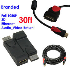 Display Port to HDMI Converter with Audio Adapter+Ultra 30FT HDMI w/Cores,1080P