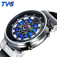 Creative Car Roulette Blue Led Dispaly Binary Watch Fashion Men Sports Watches