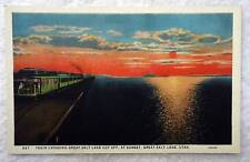 POSTCARD RAILROAD TRAIN CROSSING GREAT SALT LAKE CUT OFF UTAH #22B