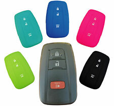 Prius Grey with Red Button Camry Venza Avalon 4runner Pananas Compatible with Toyota Silicone Protecting Remote Key Case Cover 4 Buttons Fob Holder for Land Cruiser Prado Crown Highlander
