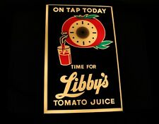 Vintage Time For Libby's Tomato Juice Advertising Light Up Clock Sign