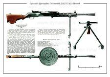 Soviet Russian Military Weapon Poster DEGTARYOV MACHINE GUN DP-27 A2