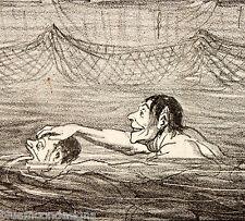DAUMIER Original 1865 CHARIVARI Croquis d' Été Schwimmbad Swimming Pool Piscine