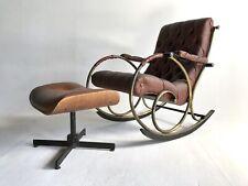Vintage Mid Century Modern Woodard Rocking Chair Rocker Leather Ottoman Boho MCM