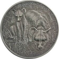 Afrika Serie Tüpfel Hyäne Silver Ounce Kongo 1000 Francs 2018 Antique Finish