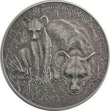 Afrika Serie Tüpfel Hyäne Silver Ounce Kongo 1000 Francs 2018 Antique Finish