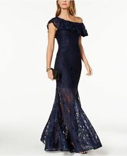 $240 XSCAPE WOMEN'S BLUE ONE-SHOULDER RUFFLED LACE ILLUSION GOWN DRESS SIZE 4