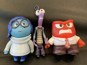 Disney Inside Out Tomy Sadness, Anger & Fear Posable Action Figures Collectible