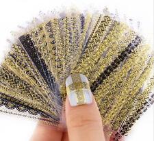 24PCS 3D Nail Art Stickers Decals Metallic Flowers Designs Nail Stickers