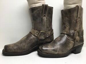 VTG WOMENS FRYE HARNESS MOTORCYCLE DISTRESSED GRAY BOOTS SIZE 8.5 M