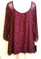 NEW WOMEN'S APT 9 COLD SHOULDER 3/4 CHIFFON SLEEVE LINED STRETCHY TOP SIZE 3X