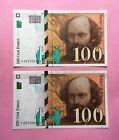 FRANCE 100 FRANCS CEZANNE 1997 - PAIRE de NUMEROS CONSECUTIFS - NEUFS / UNC -
