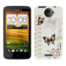 Hardcase Butterfly Pattern für HTC One X Schmetterlinge in braun weiß Hülle Etui
