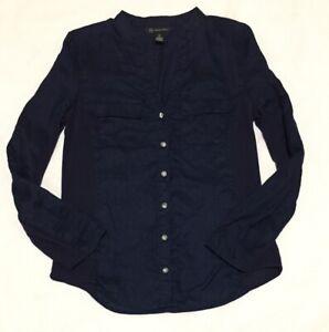 INC Shirt Womens Sz 10 Navy Blue Linen Roll Tab Sleeves Faux Jewel Buttons