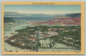 Boulder City Nevada~Aerial View Of City~1940s Linen Postcard