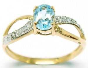 SYJEWELLERY LOVELY 9CT YELLOW GOLD NATURAL BLUE TOPAZ & DIAMOND RING SIZE M R976