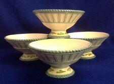 Set of 4 Fitz And Floyd Seaboard Footed Pedestal Bowls Fruit Pasta Soup Blue