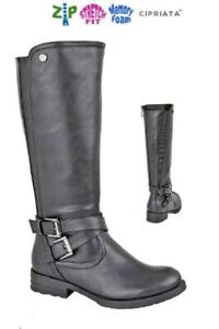 Ladies High Leg Black Knee Boots Cipriata Wider Calf Fit Size 3 -9 UK