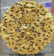 China Wood Golden Paint Handwork Carved Lucky Nine Dragon Play Bead Ball Screen