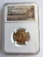 2016-W 100th Anniversary National Park Service $5 Gold NGC MS70 Roosevelt Label