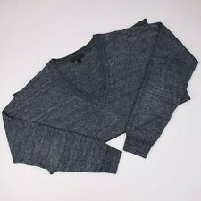 J Crew Medium Womens Sweater Merino Linen E9434 Blue Gray Lightweight V Neck M