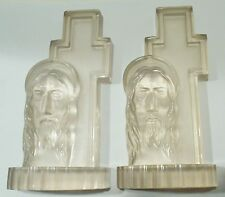 Vtg Religious Book Ends Cross Jesus Figure Clear Lucite Bible Study Easter