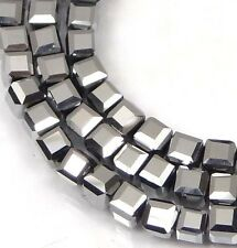 50 Czech Firepolish Glass Faceted Cube Beads 3mm - Metallic Silver