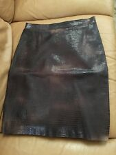 $978 MAX AZRIA Brown Mix Beige Size 2 Leather Skirt/Women Leather Clothes/BCBG