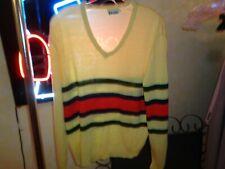 80s S/M Mens Vtg Etonic Golf acrylic v-neck pullover stripes sweater shirt