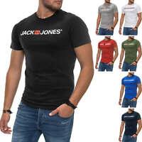 NEU Jack & Jones Herren T-Shirt Kurzarmshirt Print Shirt Logo Casual Color Mix