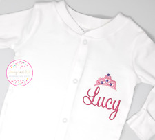 Personalised Babygrow Sleepsuit, Princess Tiara Embroidered Baby Girl Pink Gift