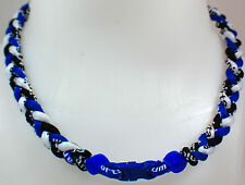 "NEW 20"" Custom Clasp Braided Sports Royal Blue Black White Tornado Necklace"