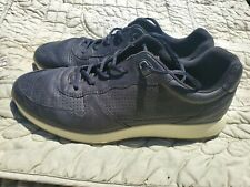 Mens ECCO Black Leather Sneaker Shoes Sz 43 US Sz 10. Pre Owned