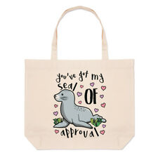 You've Got My Seal Of Approval Large Beach Tote Bag - Funny Valentine's Day