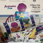 3 Piece Twin Sheet Set Barney Alphabet Fun 1993 Vintage Old Stock New