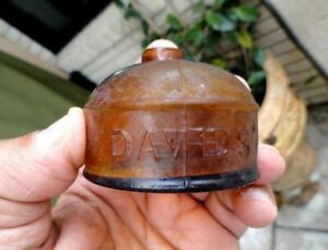 Amber DAVIDS' TURTLE Ink Well Bottle ~late 1800's~