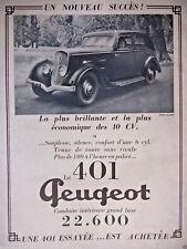 PUBLICITÉ PRESSE 1934 LA 401 PEUGEOT CONDUITE INTÉRIEURE DE LUXE - ADVERTISING