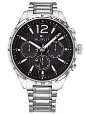 New Tommy Hilfiger Men's Gavin Stainless Steel Silver Black Watch 1791469
