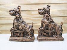 Vintage Syroco Scottie Dog Bookends Set Brown Scottish Terrier Pair Retro